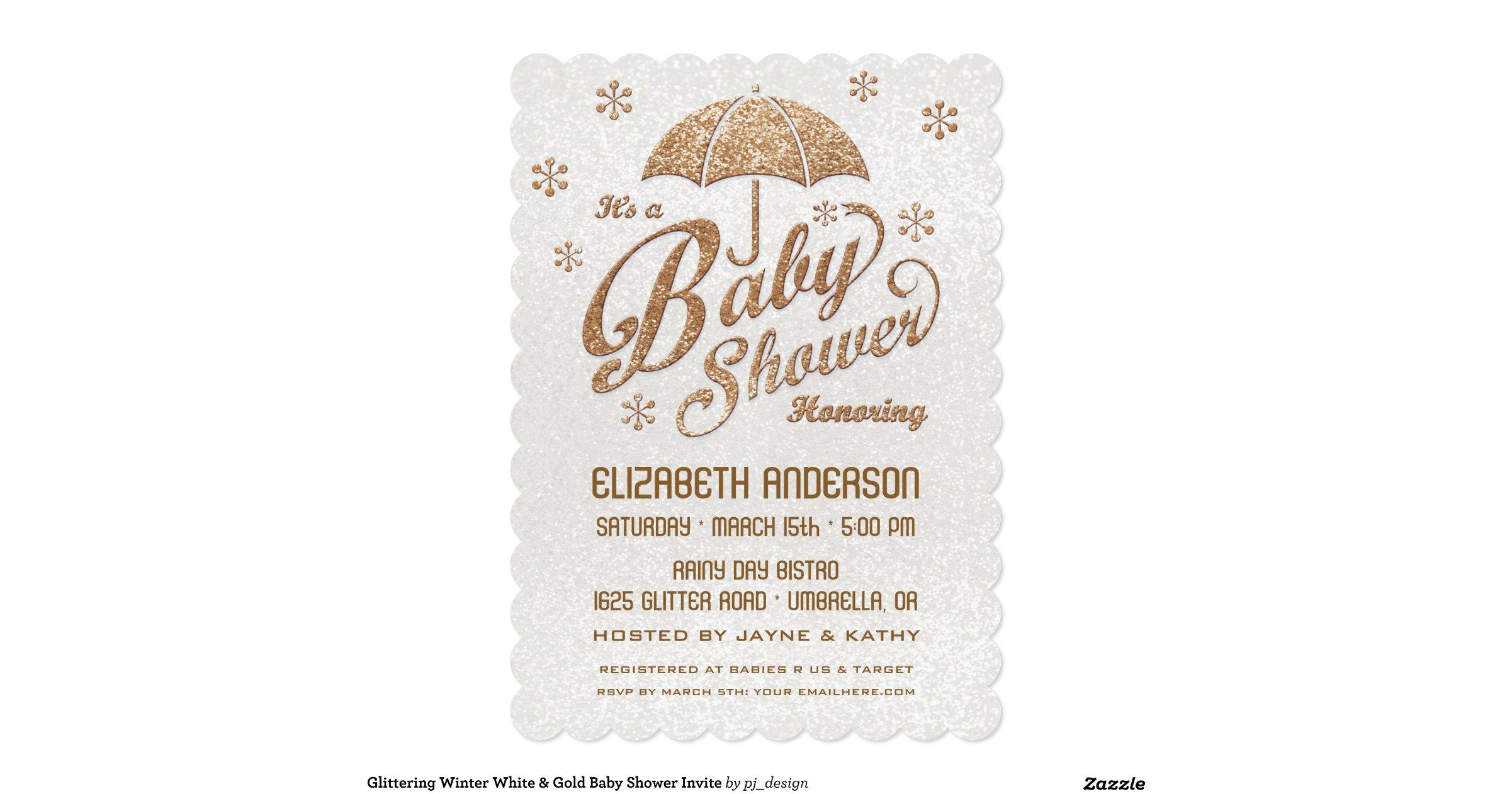 glittering winter white gold baby shower invite