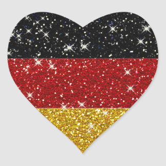 Glitters Germany Flag with Sparkles Heart Sticker