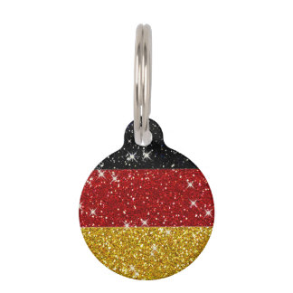 Glitters Germany Flag with Sparkles Pet Tag