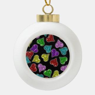 Glitters Hearts On Black Background Ceramic Ball Christmas Ornament