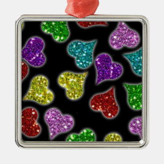 Glitters Hearts On Black Background Square Metal Christmas Ornament