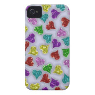 Glitters Hearts On White Background iPhone 4 Case-Mate Cases