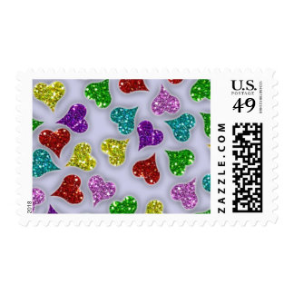 Glitters Hearts On White Background Postage Stamp