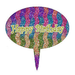 Glitters in Waves Happy Birthday Cake Topper
