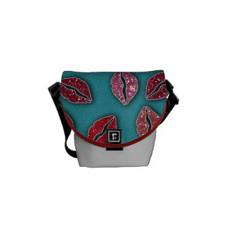 Glitters Pink Lips Glitters Red Lips Courier Bags
