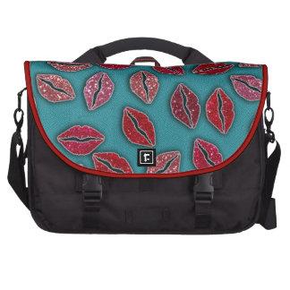 Glitters Pink Lips Glitters Red Lips Laptop Commuter Bag