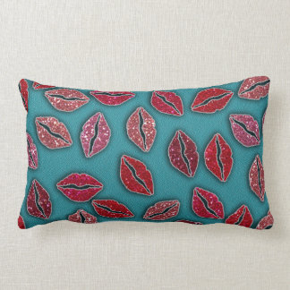 Glitters Pink Lips Glitters Red Lips Throw Pillows