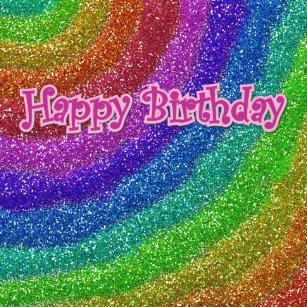 Glitters Rainbow Happy Birthday Cake Topper