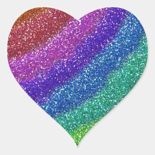 Glitters Rainbow Heart Sticker Zazzle