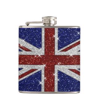 Glitters Shiny Sparkle Union Jack Flag Flask