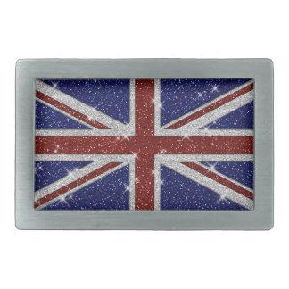 Glitters Shiny Sparkle Union Jack Flag Rectangular Belt Buckle