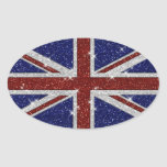 Glitters Shiny Sparkle Union Jack Flag Oval Sticker