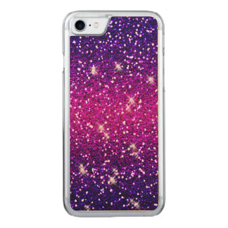 Glitters Sparkles Purple Pink Texture Carved iPhone 7 Case