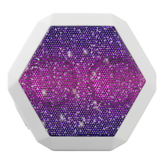 Glitters Sparkles Purple Pink Texture White Bluetooth Speaker