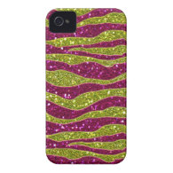 Glitters Yellow Pink Zebra Stripes iPhone 4 Cases
