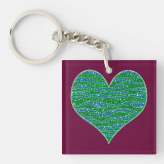 Glitters Zebra Stripes Glitters Green Blue Double-Sided Square Acrylic Keychain