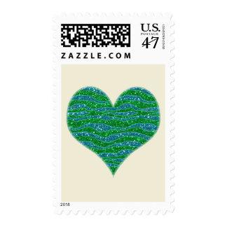 Glitters Zebra Stripes Glitters Green Blue Postage