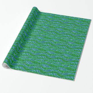 Glitters Zebra Stripes Glitters Green Blue Wrapping Paper