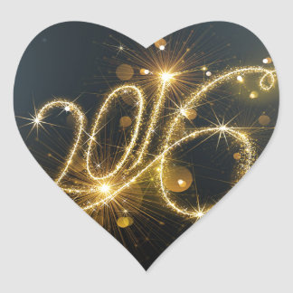 Glittery 2016 heart sticker