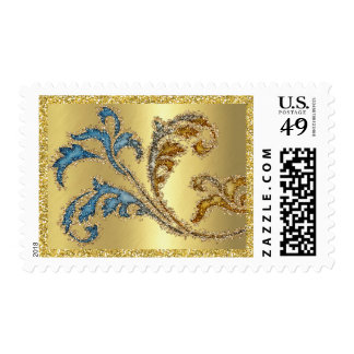 Glittery Acanthus Leafy Scroll Postage