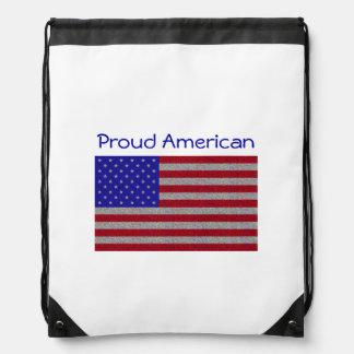 Glittery American Flag Drawstring Backpacks