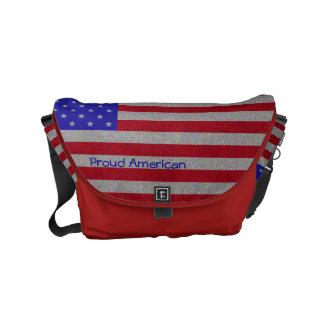 Glittery American Flag Small Messenger Bag