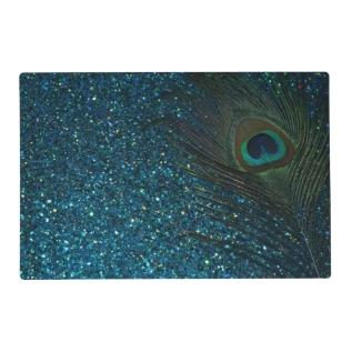 Glittery Aqua Blue Peacock Placemat at Zazzle