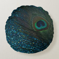 Glittery Aqua Blue Peacock Round Pillow
