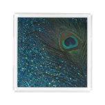 Glittery Aqua Peacock Acrylic Tray