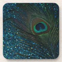 Glittery Aqua Peacock Beverage Coaster