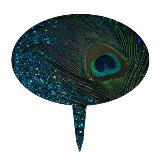Glittery Aqua Peacock Cake Topper
