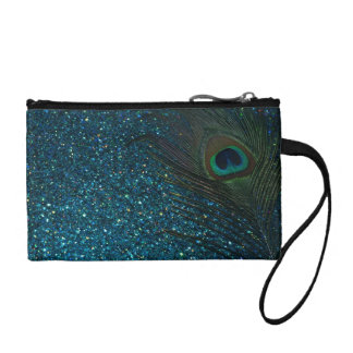 Glittery Aqua Peacock Coin Wallet
