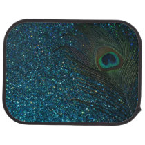Glittery Aqua Peacock Feather Car Floor Mat