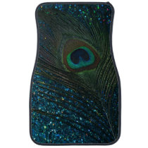 Glittery Aqua Peacock Feather Car Mat