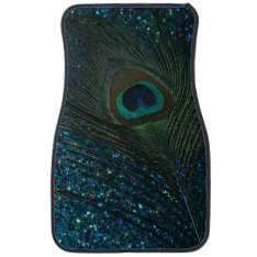 Glittery Aqua Peacock Feather Car Mat at Zazzle