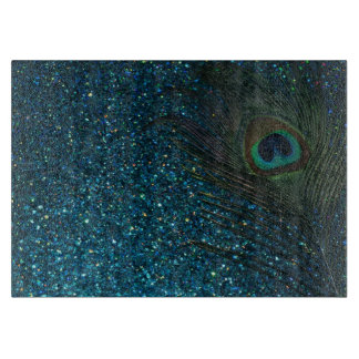 Glittery Aqua Peacock Feather Cutting Board