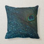 Glittery Aqua Peacock Feather Pillow
