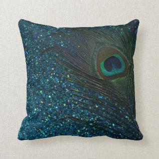 Glittery Aqua Peacock Feather Throw Pillow at Zazzle