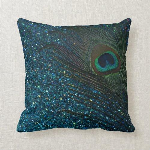 Glittery Aqua Peacock Feather Throw Pillow