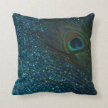 "Glittery Aqua Peacock Feather Throw Pillow<br><div class=""desc"">Stunning peacock feather still life photography.  The peacock feather looks brilliant against the glittery aqua blue background.</div>"
