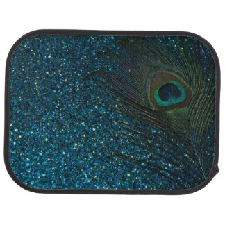 Glittery Aqua Peacock Feather Car Mat