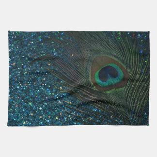 Glittery Aqua Peacock Hand Towels