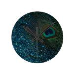 Glittery Aqua Peacock Round Clocks