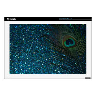 Glittery Aqua Peacock Decals For Laptops