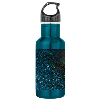 Glittery Aqua Peacock Stainless Steel Water Bottle