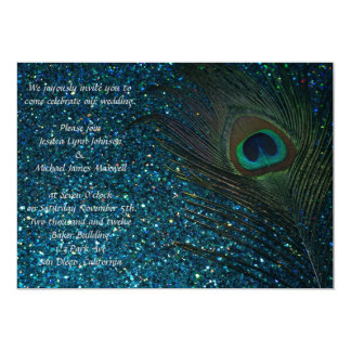 "Glittery Aqua Peacock Wedding 5"" X 7"" Invitation Card"