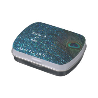 Glittery Aqua Peacock Wedding Jelly Belly Candy Tins