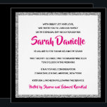 "Glittery Bat Mitzvah Pink, Black and Silver Square Invitation<br><div class=""desc"">This trendy Bat Mitzvah invitation features sparkling faux glitter layered against a solid color background.  Use the template form to add your own information.  The ""Customize"" feature can be used to change the font style,  color and layout.</div>"