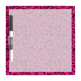 Glittery Black Floral on Bright Pink Dry-Erase Board