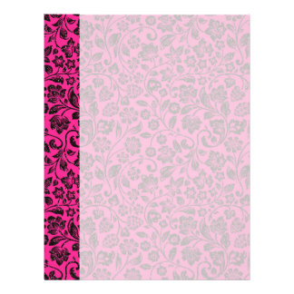 Glittery Black Floral on Bright Pink Letterhead